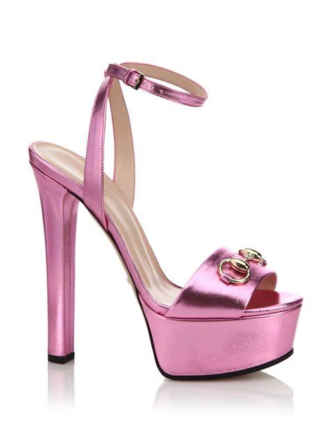 pink platform sandals lyst gucci leila metallic leather platform sandals in pink