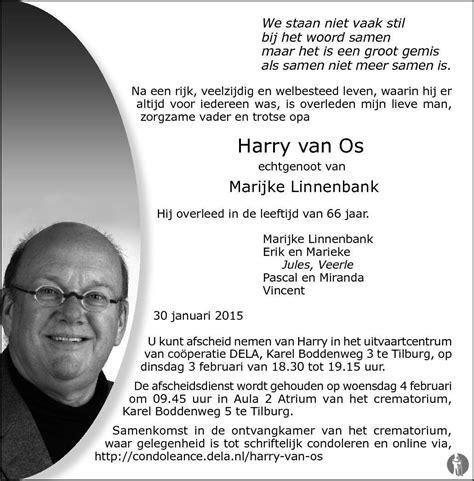 Vans Os harry os 30 01 2015 overlijdensbericht en condoleances