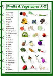 a z name that fruit and vegetable books teaching worksheets vegetables