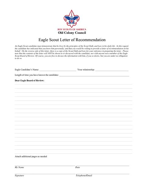 Recommendation Letter Template For Eagle Scout Eagle Scout Recommendation Letter Template L Vusashop