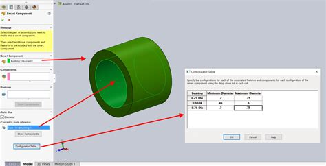 how to make a design table in solidworks how to make solidworks smart components even smarter with