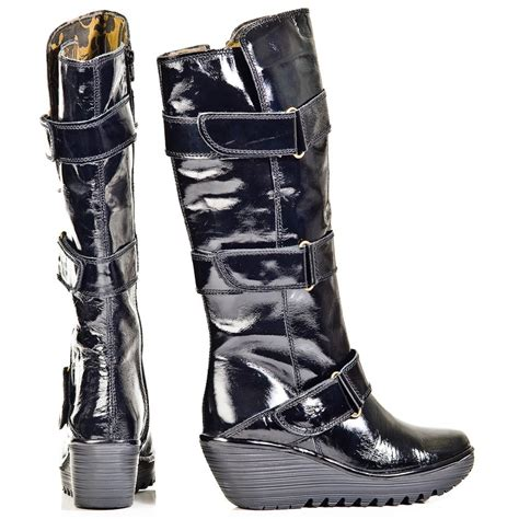 fly yeven black patent leather knee high wedge