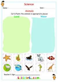 land and water animals kindergarten science worksheet