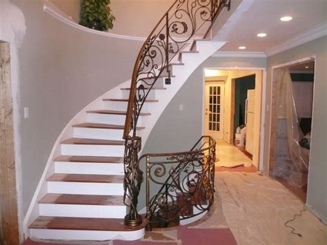 Wrought Iron And Wood Banisters Stairs Glamorous Indoor Stair Railing Indoor Stair