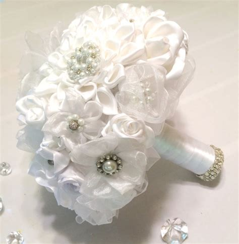 Handmade Brooch Bouquet - white pearl and rhinestone brooches and handmade satin