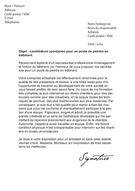 Lettre De Recommandation Btp lettre de motivation peintre en b 226 timent mod 232 le de lettre