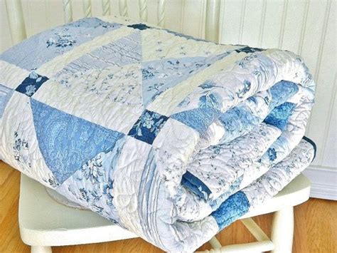 Navy Blue And White Quilt Quilt Shabby Chic Handmade Patchwork Bed Quilt