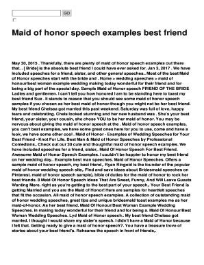 Maid of honor speech examples best friend Fill Online