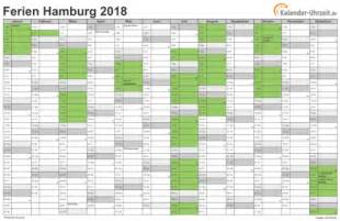 Kalender 2018 Ferien Drucken Ferien Hamburg 2018 Ferienkalender Zum Ausdrucken