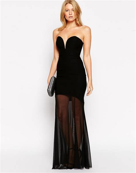 sweetheart maxi dress with sheer fishtail