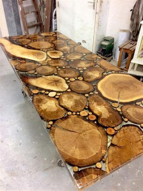 sliced oak table top  resin epoxy buildwoodtable