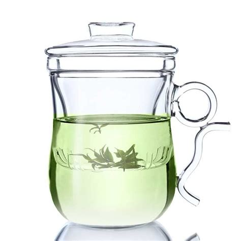 glass teapot glass cup 12oz glass teapot tea cup glass with infuser and lid green