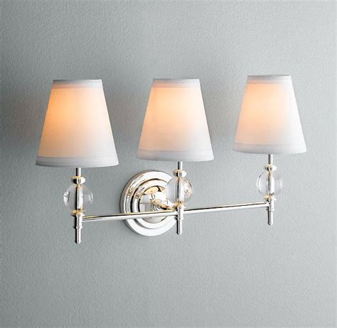 bathroom mirror with sconces wilshire triple sconce bath sconces restoration hardware