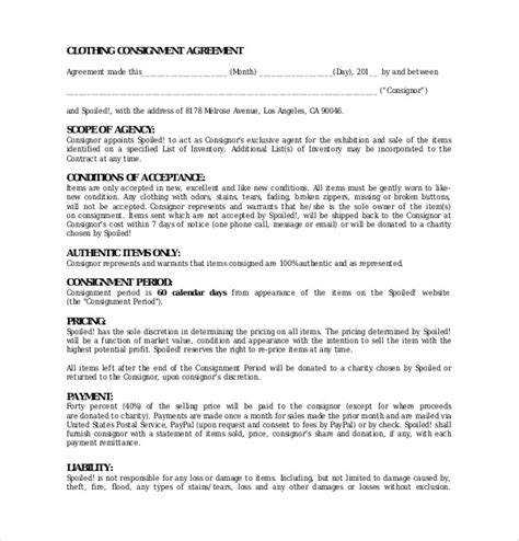 clothing consignment agreement template 10 consignment agreement templates free sle exle