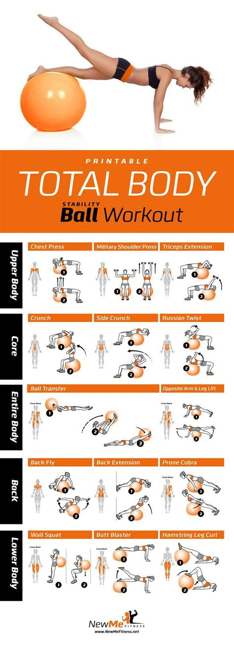 printable exercise ball workouts for beginners printable total body stability ball workout poster