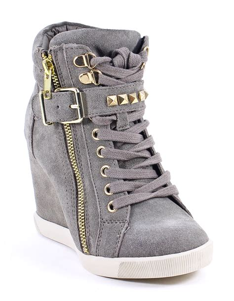 steve madden taupe suede leather obsess wedge sneakers shoes 8 new ebay