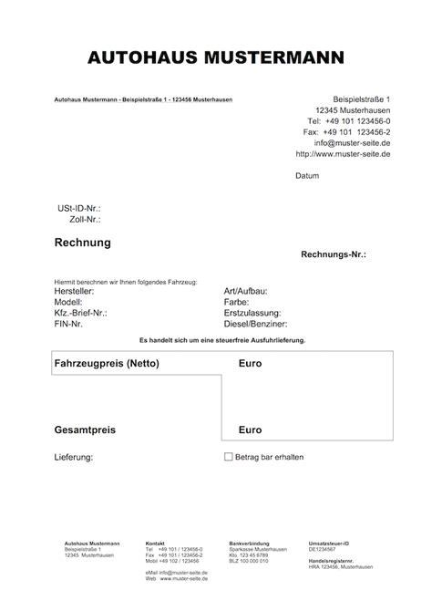 Muster Rechnung Ausfuhrlieferung autofreund24 de vorlagen f 252 r den autohandel