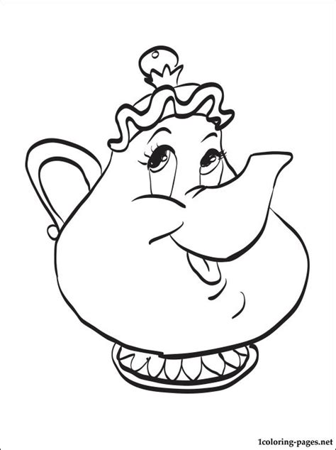 mrs potts coloring page coloring pages