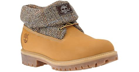 timberland boots roll top mens timberland roll top leather boots in for lyst