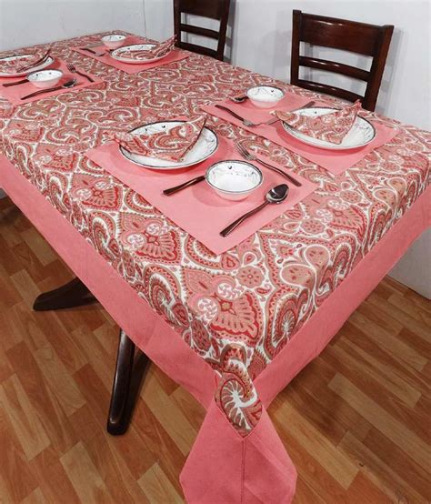 Pink Table L Heritagefabs Harmony Pink Table Cover With 4 Napkins 4 Table Mats