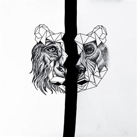 half head bear and lion tattoo design