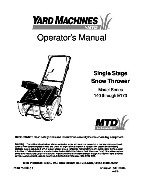 Mtd Yard Machines 140 E173 Snow Blower Owners Manual