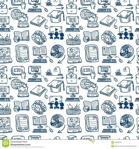 background wallpaper education icon online education icon seamless background stock vector