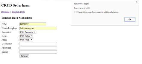 membuat database sederhana dengan php mysql membuat crud php validasi sederhana dengan database mysql