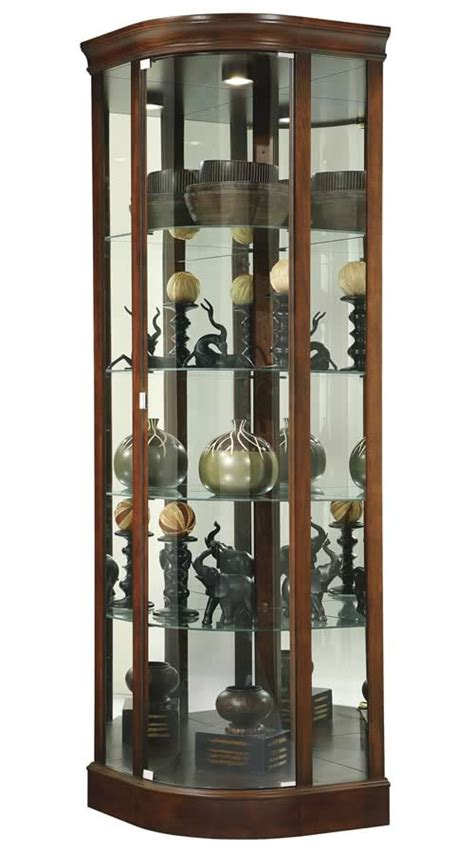 cherry corner curio cabinet howard miller modern curve door cherry corner display