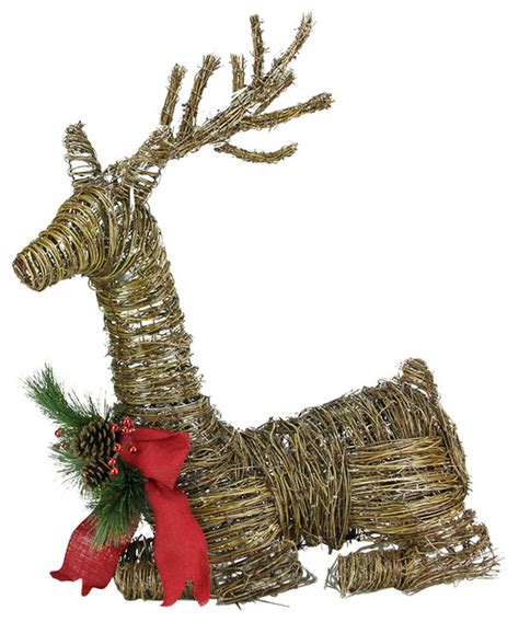 rattan reindeer with bow and pine cones christmas yard
