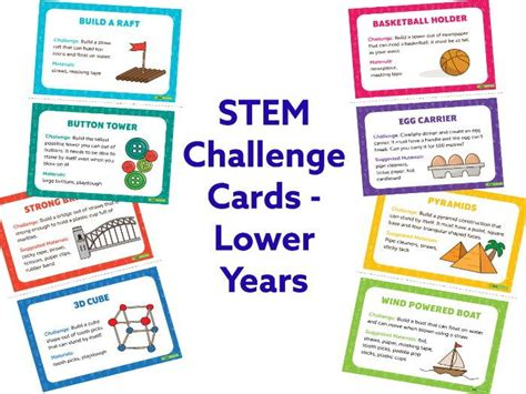 card challenges stem challenge cards lower years by teachstarter
