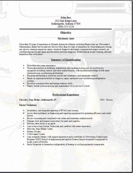 Aircraft Mechanic Resume Template by Mechanic Resume Resume Badak