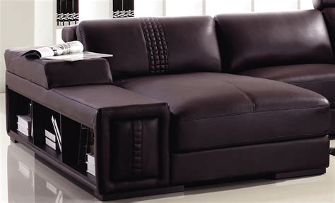 T132 Mini Modern Brown Leather Sectional Sofa