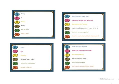 trivial pursuit cards template free trivial pursuit cards exles worksheet free esl