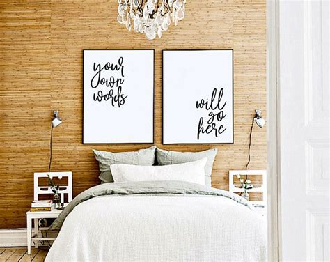 customized quote prints bedroom  bed art cute
