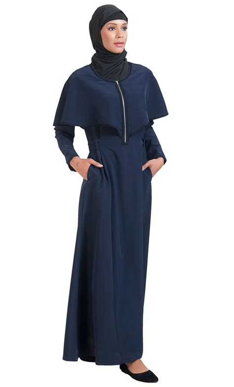 Cape Arab Vs zipper accent cape abaya