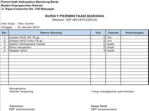 Contoh Surat Permintaan Pembelian Barang by Contoh Form Peminjaman Barang Inventaris Kantor Resmi