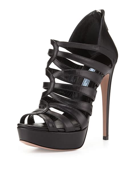black strappy high heels prada strappy cage high heel sandal in black lyst