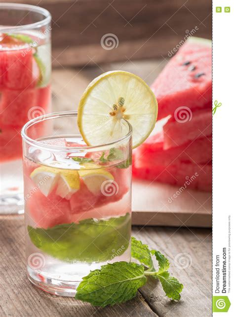 Watermelon And Lemon Detox Water by Detox Water Fresh Watermelon With Lemon And Mint Stock