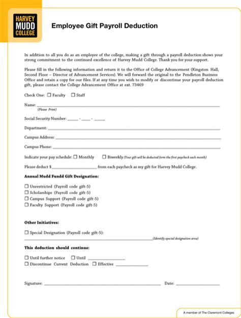 download payroll deduction form for free formtemplate