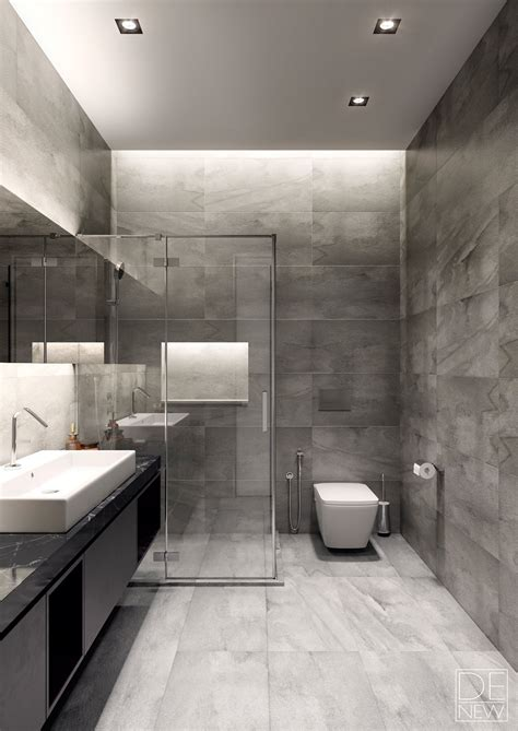 modern grey bathroom two apartments with texture one soft one sleek