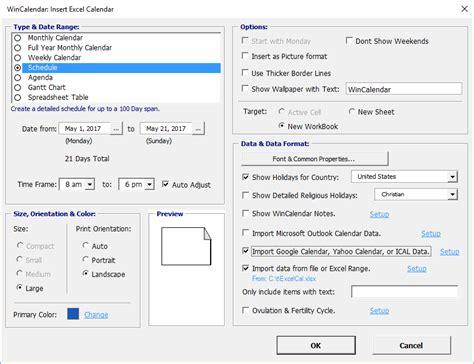Calendar Creator Wincalendar Excel Calendar Creator With Holidays