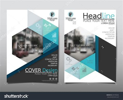 business catalog template blue technology triangle and hexagon annual report
