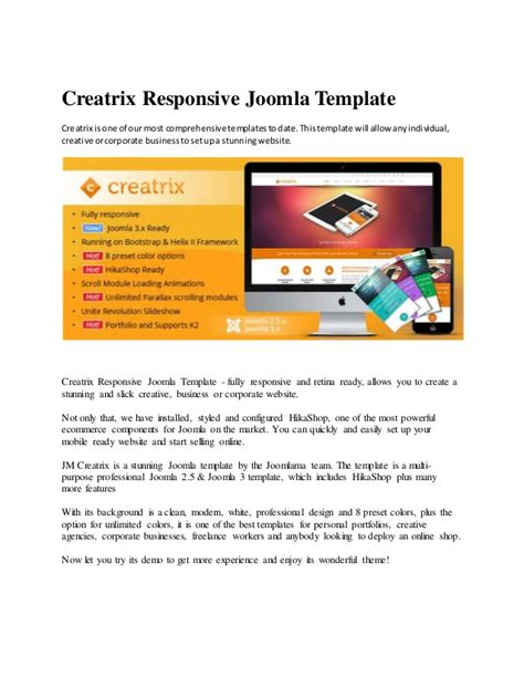 joomla templates for presentation creatrix responsive joomla template