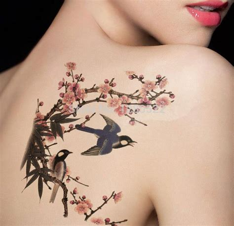 large temporary tattoo body art flower butterfly swallow