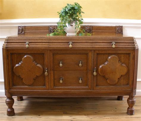 Antique English Solid Oak Carved Sideboard Server Buffet Buffets For