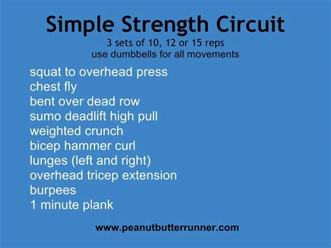 simple dumbbell strength circuit peanut butter runner
