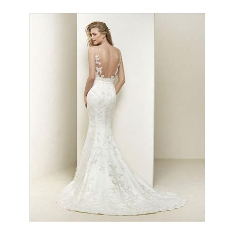 dralia by pronovias illusion neckline wedding gown with train