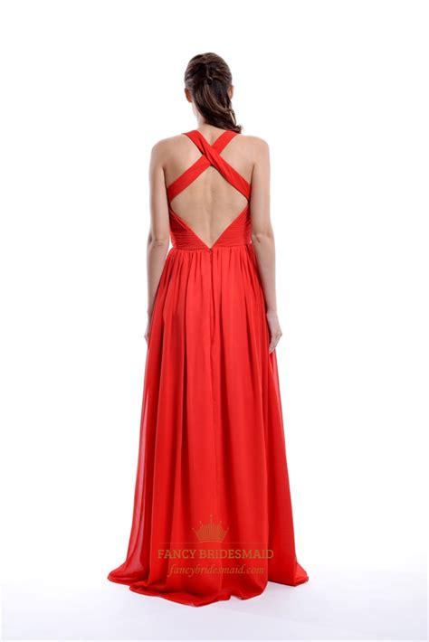 Jc Longdress V Back 132 a line v neck pleated chiffon prom dress with criss cross back fancy bridesmaid dresses