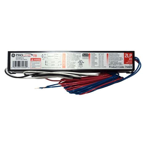 t8 ballast 2 l ge 120 to 277 volt electronic ballast for 4 ft 2 or 1